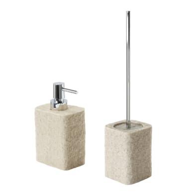 Set di accessori per bagno beige in resina