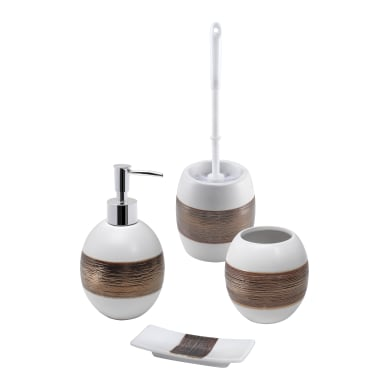 Set di accessori per bagno bianco in ceramica