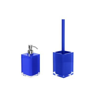 Set di accessori per bagno blu in resina