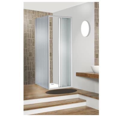 Box doccia angolare porta scorrevole e lato fisso rettangolare Plumin 120 x 70 cm, H 185 cm in vetro temprato, spessore 3 mm vetro di sicurezza piumato bianco