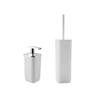 Set di accessori per bagno bianco in plastica