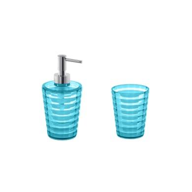 Set di accessori per bagno turchese in plastica