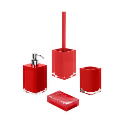 Set di accessori per bagno rosso in resina