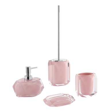 Set di accessori per bagno rosa in resina