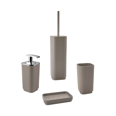 Set di accessori per bagno beige in plastica