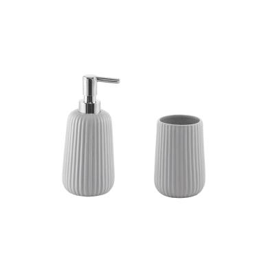 Set di accessori per bagno grigio in ceramica