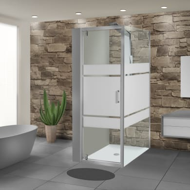 Box doccia angolare con porta a battente e lato fisso rettangolare Sinque 90 x 70 cm, H 190 cm in vetro temprato, spessore 5 mm serigrafato argento