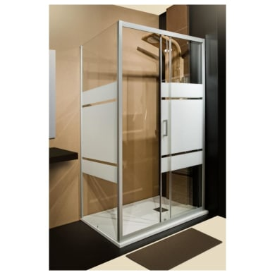 Box doccia angolare porta scorrevole e lato fisso rettangolare Sinque 140 x 70 cm, H 190 cm in vetro temprato, spessore 5 mm serigrafato argento