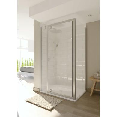 Box doccia angolare con porta battente lato fisso in linea e lato fisso rettangolare Style 150 x 70 cm, H 200 cm in vetro temprato, spessore 8 mm trasparente argento