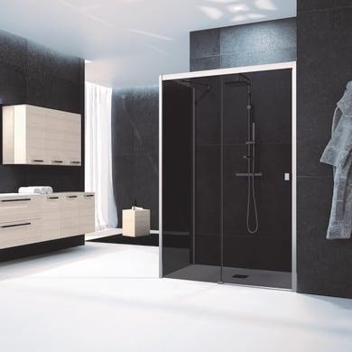 Box doccia angolare porta scorrevole e lato fisso rettangolare Glam 140 x 70 cm, H 200 cm in vetro temprato, spessore 6 mm fumé cromato