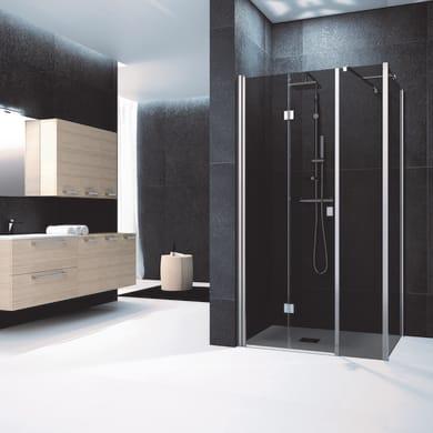 Box doccia angolare con porta pieghevole lato fisso in linea e lato fisso rettangolare Glam 150 x 70 cm, H 200 cm in vetro temprato, spessore 6 mm fumé cromato