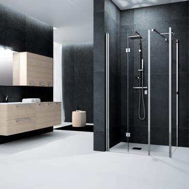 Box doccia angolare con porta pieghevole lato fisso in linea e lato fisso rettangolare Glam 150 x 70 cm, H 200 cm in vetro temprato, spessore 6 mm trasparente argento