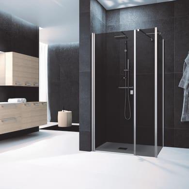 Box doccia angolare con porta battente e due lati fissi rettangolare Glam 150 x 70 cm, H 200 cm in vetro temprato, spessore 6 mm fumé cromato
