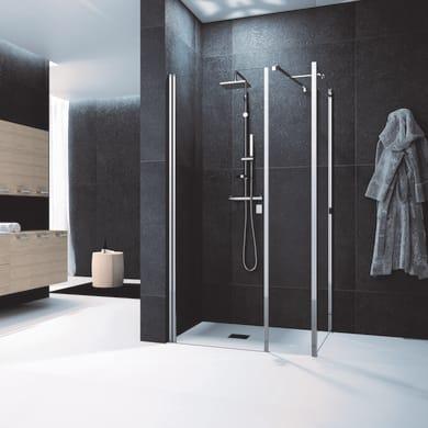 Box doccia angolare con porta battente e due lati fissi rettangolare Glam 150 x 70 cm, H 200 cm in vetro temprato, spessore 6 mm trasparente cromato