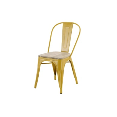 Sedia da giardino senza cuscino in acciaio Oxford colore giallo/acacia