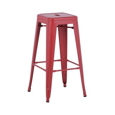 Sgabello Victoria seduta in metallo rosso base in metallo
