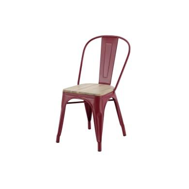 Sedia da giardino senza cuscino in acciaio Oxford colore rosso/acacia