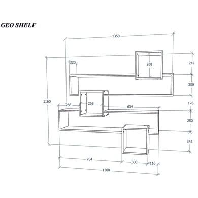 Mensola a cubo Geo L 135 x H 116 cm, Sp 3 mm bianco