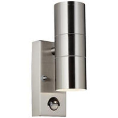 Applique Hanni GU10 / AUß-WA-2 +BEW / w/o bulbs con sensore di movimento, in metallo, inox, GU10 2xMAX35W IP44