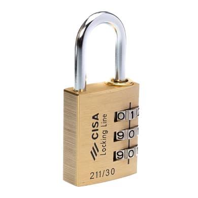 Lucchetto con codice CISA Locking Line in ottone ansa H 25 x L 14 x Ø 5 mm