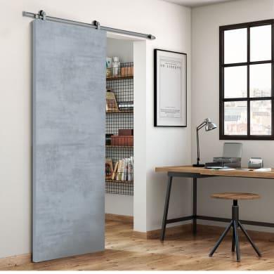 Porta scorrevole con binario esterno Cemento in mdf laminato L 92.5 x H 211.5 cm