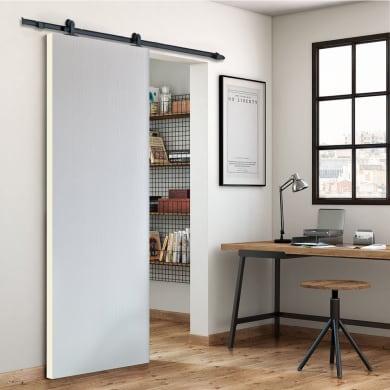 Porta scorrevole con binario esterno Renoir in mdf Kit Loft grigio L 212 x H 5 cm