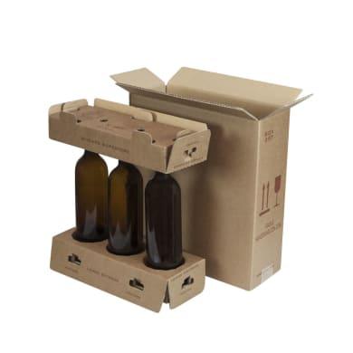Set di 20 pezzi, Scatola di cartone per bottiglie 2 onde H 36 x L 33 x P 13 cm