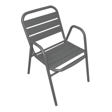 Sedia con braccioli senza cuscino in alluminio colore antracite