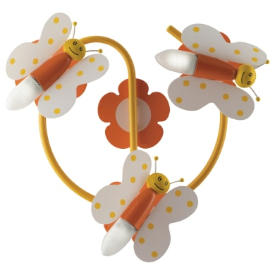 Plafoniera Farfalline arancione e giallo e bianco, in acrilico, 3  luci