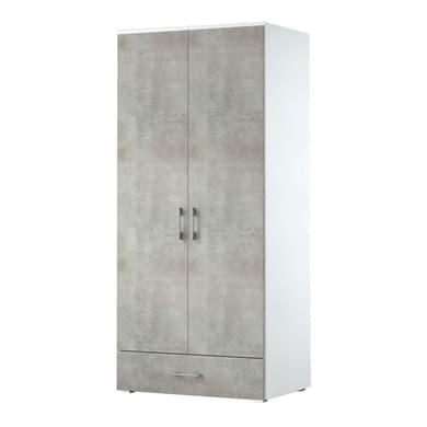 Armadio L 90 x P 60 x H 195 cm bianco con anta cemento
