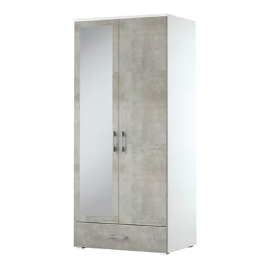 Armadio L 90 x P 60 x H 195 cm bianco con anta cemento e specchio