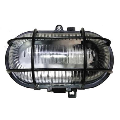 Applique Ovale in plastica, nero, E27 MAX60W IP44 INSPIRE