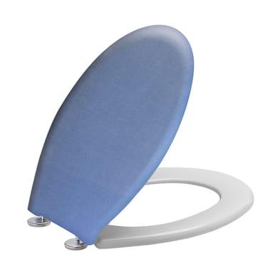 Copriwater ovale Ovale Jeans plastica termoindurente blu