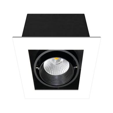 Faretto fisso da incasso orientabile quadrato Chris  in Metallo nero, 10x10cm LED integrato 750LM IP23 INSPIRE