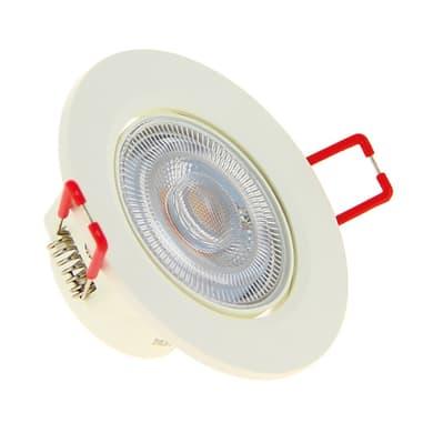 Faretto fisso da incasso orientabile tondo Cal bianco e alluminio, diam. 8.6 cm LED integrato 5.6W 345LM IP20 YANTEC