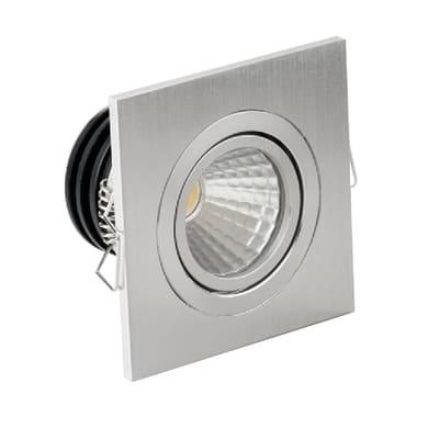 Faretto fisso da incasso orientabile quadrato Sylvie  in Alluminio argento, 7x7cm LED integrato 3W 260LM IP20