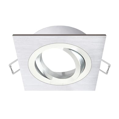 Ghiera per faretto da incasso orientabile quadrato Giove  in Alluminio argento, GU10 IP23 INSPIRE