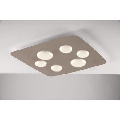 Plafoniera industriale Megan LED integrato ambrato, in acciaio, 63x63 cm, 6  luci