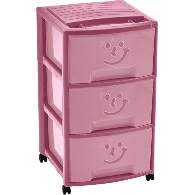 Cassettiera Empire Fancy 3 Smile L 39 x P 37 x H 67 cm rosa