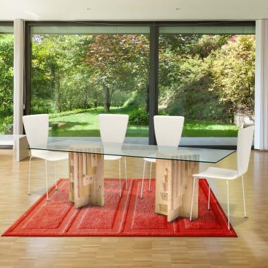 Tavolo rettangolare Multis con piano in vetro L 80 x P 200 cm