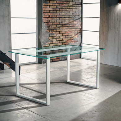 Tavolo rettangolare Synergo con piano in vetro L 75 x P 140 cm