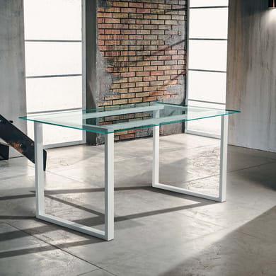 Tavolo rettangolare Synergo con piano in vetro L 80 x P 160 cm