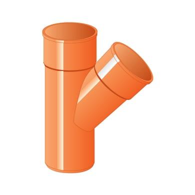 Derivazione arancione in PVC 45° Ø125 mm