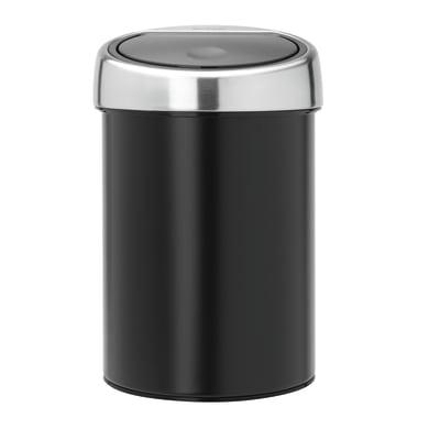 Pattumiera da bagno manuale touch bin nero 3 Lin acciaio