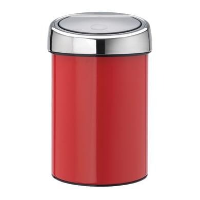 Pattumiera da bagno push touch bin rosso 3 Lin acciaio