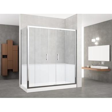 Box doccia rettangolare scorrevole 170 x 70 cm, H 190 cm in vetro temprato, spessore 6 mm trasparente cromato