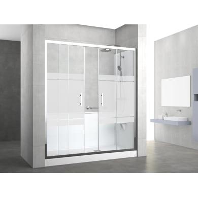 Box doccia rettangolare scorrevole 170 x 70 cm, H 190 cm in vetro temprato, spessore 6 mm serigrafato grigio