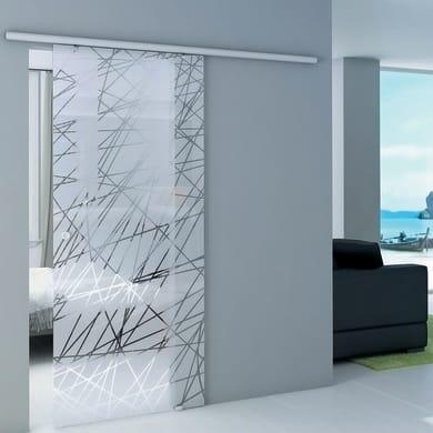 Porta scorrevole con binario esterno Atena in cristallo vetro Kit 2 L 86 x H 215 cm
