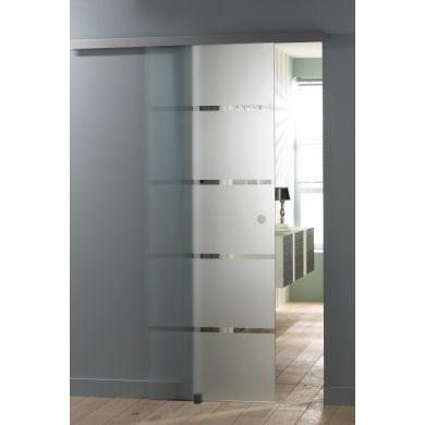 Porta scorrevole con binario esterno Miami in cristallo Kit A L 86 x H 215 cm