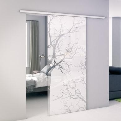 Porta scorrevole con binario esterno Autumn in vetro Kit Atena L 96 x H 215 cm